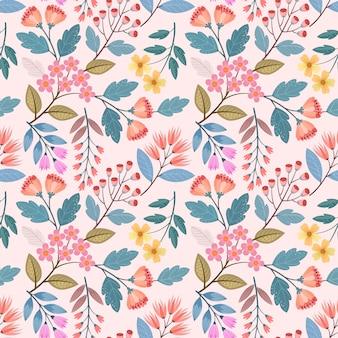Coloridas flores dibujadas a mano de patrones sin fisuras