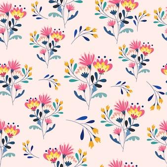 Coloridas flores y flores amarillas de patrones sin fisuras