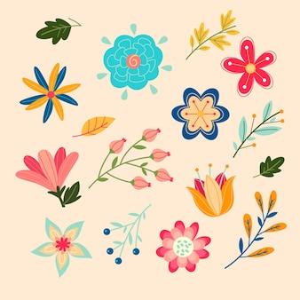 Coloridas flores y hojas aisladas en diseño plano de fondo rosa