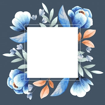 Coloridas flores de invierno con banner cuadrado vacío