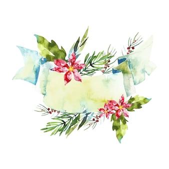 Coloridas flores de invierno con banner vacío