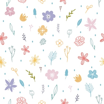 Coloridas flores de primavera y hojas de patrones sin fisuras