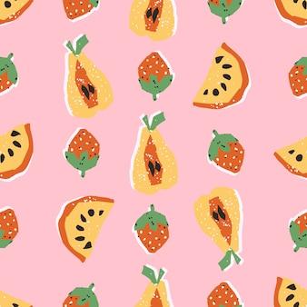 Coloridas frutas dibujadas a mano en patrones sin fisuras