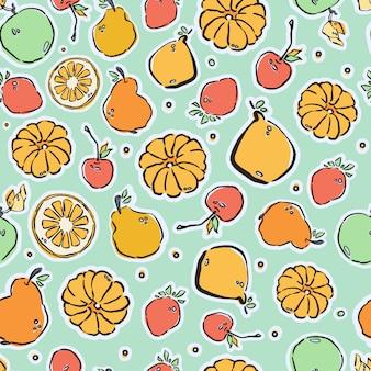 Coloridas frutas dibujadas a mano, patrones sin fisuras