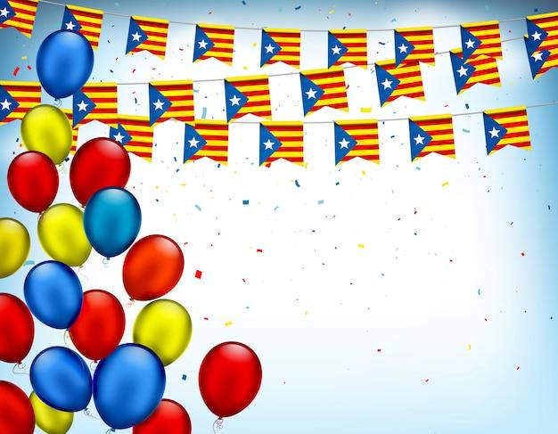 Coloridas guirnaldas festivas de la bandera de cataluña y globos de aire. símbolos patrios decorativos para fiestas nacionales. banner de vectores para la celebración de la independencia de la región de cataluña, referéndum en españa