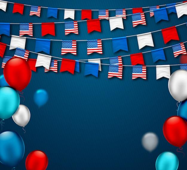 Coloridas guirnaldas festivas de banderas de estados unidos y globos aerostáticos. independencia americana y día patriota