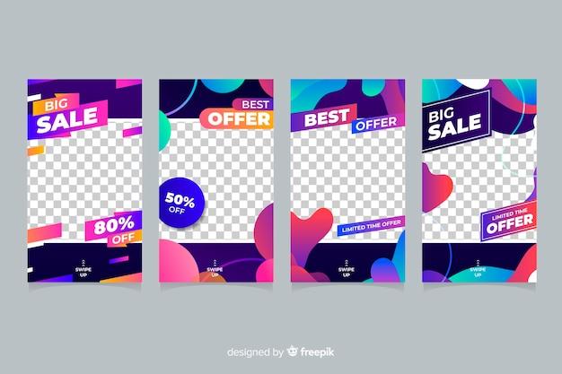 Coloridas historias de instagram de venta abstracta con fondo transparente