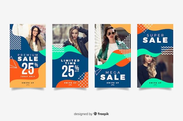 Coloridas historias de instagram de venta abstracta con foto