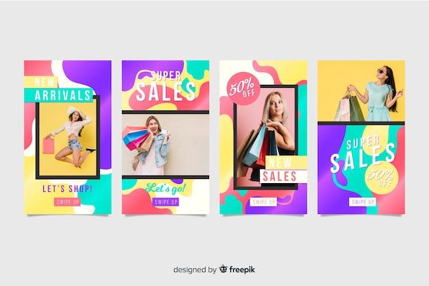 Coloridas historias de instagram de venta abstracta con imagen