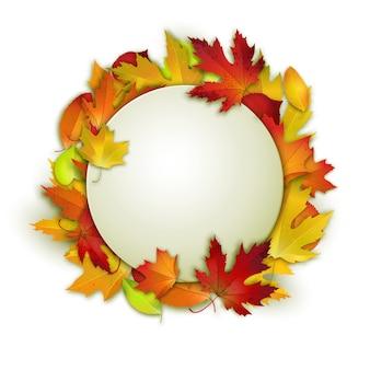 Coloridas hojas de otoño y blanco en círculo