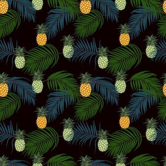 Coloridas hojas tropicales y piña en patrón transparente de fondo oscuro