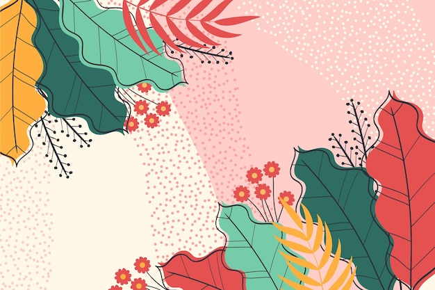 Coloridas hojas tropicales zoom de fondo
