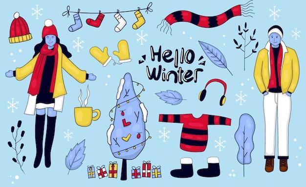 Coloridas ilustraciones de invierno dibujadas a mano
