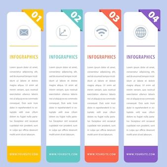 Coloridas infografías verticales planas