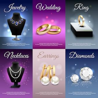 Coloridas joyas realistas banners con collares anillos pendientes diamantes.