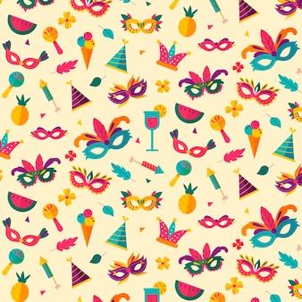 Coloridas máscaras con plumas de patrones sin fisuras de carnaval