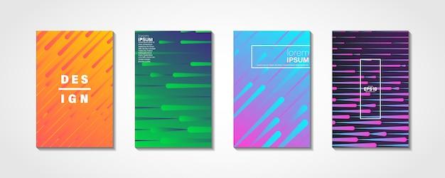 Coloridas ondas brillantes con líneas conjunto de portada mínima
