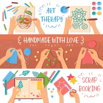 Coloridas pancartas hechas a mano con pasatiempos creativos para niños ilustración plana