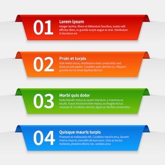 Coloridas pancartas infográficas. plantilla de etiquetas con pestañas, infografía numerada marcos de cinta con texto. informe 3d línea de tiempo del vector