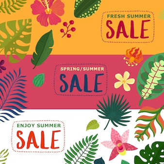 Coloridas pancartas de rebajas de verano y primavera con plantas tropicales