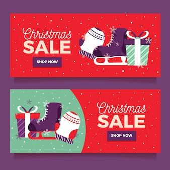 Coloridas pancartas de venta de navidad en diseño plano