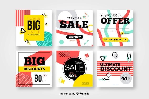 Coloridas pancartas de ventas modernas para redes sociales