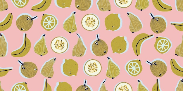 Coloridas peras dibujadas a mano, plátanos, maracuyá, limones y limas de patrones sin fisuras