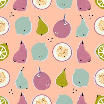 Coloridas peras, maracuyá, limones y limas dibujados a mano en patrones sin fisuras