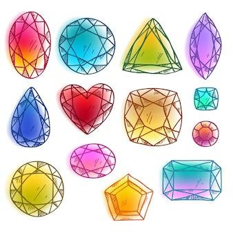 Coloridas piedras preciosas dibujadas a mano ilustración vectorial.