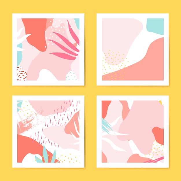 Coloridas tarjetas de estilo memphis conjunto de vectores