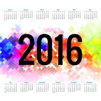 Colorido 2016 nuevo año calendario