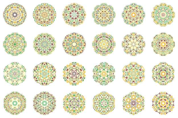 Colorido abstracto geométrico flor mandala logo set