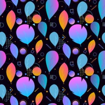 Colorido abstracto moderno deja patrón transparente