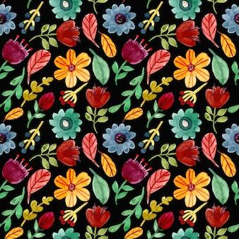 Colorido acuarela floral de patrones sin fisuras