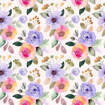 Colorido acuarela de patrones sin fisuras florales