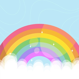 Colorido arcoiris ilustrado en nubes