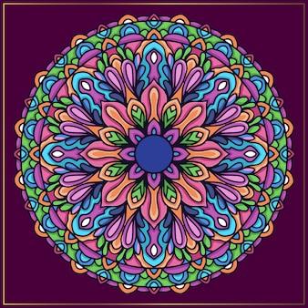 Colorido arte mandala indio con motivos florales redondeados.