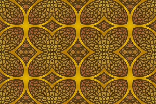 Colorido arte oriental con oro de patrones sin fisuras