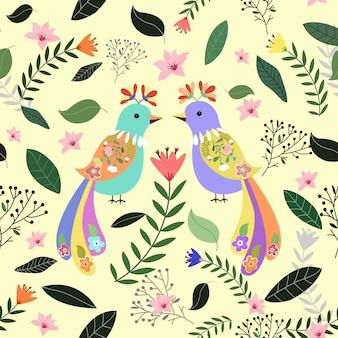 Colorido un ave pareja con flores y hojas de fondo