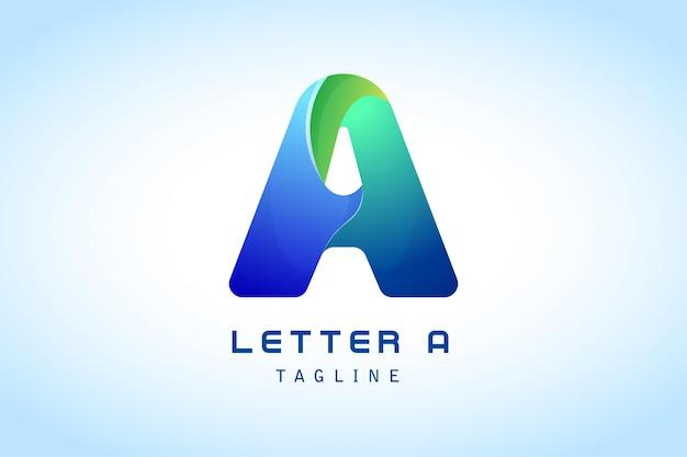 Colorido azul verde letra a logo degradado