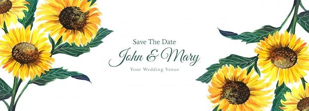 Colorido banner de boda floral en estilo acuarela