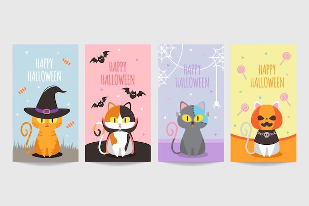 Colorido banner de feliz halloween con lindo gato con disfraz