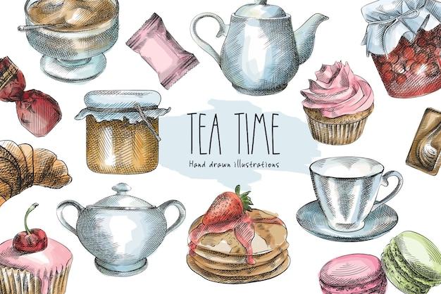 Colorido boceto dibujado a mano de postres y vajilla. panqueques con fresas, magdalenas con cereza, mermelada en un frasco, miel, macarons, taza de té, azúcar granulada, tetera, azucarero con una cuchara