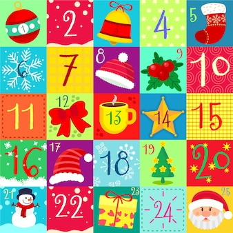 Colorido calendario de adviento en diseño plano