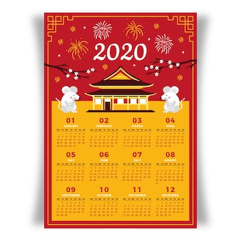 Colorido calendario chino año nuevo dibujado a mano