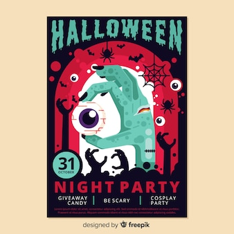Colorido cartel de halloween en diseño plano
