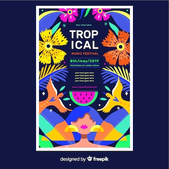 Colorido cartel tropical floral para eventos