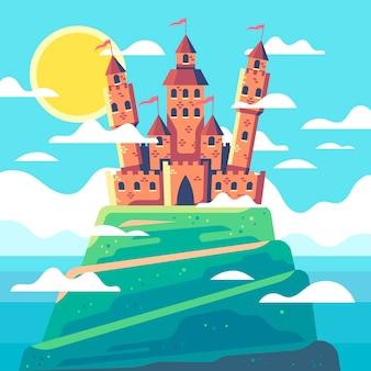 Colorido castillo de cuento de hadas ilustrado