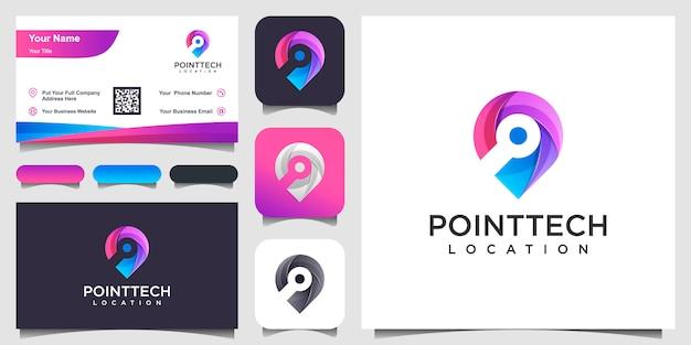 Colorido chip ubicación inspiración y tarjeta de visita