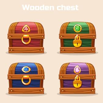 Colorido cofre de madera vintage con diamantes